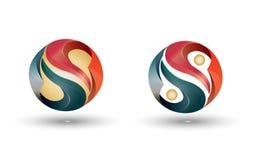 Yin Yang 3D logo vector illustration
