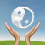 Ying Yang, der Lebenbalance symbolisiert stockbild