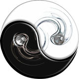 Ying Yang with Flame. Flame and Earth on Ying yang Stock Photography