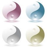Ying yang four. Four illustrated ying yang icons with drop shadow Stock Photo