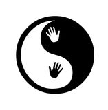 Yin yang zen with hands. Yin yang Hands Yin Yang symbol illustrated with powerful in black and white with white space for your text (A circular symbol with white Royalty Free Stock Images