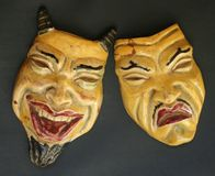 Ying and Yang. Happy Sad yellow face demon devil smile frown Stock Photos