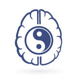 Ying-yang and human brain symbols. As positive energy life balance concept vector illustration Royalty Free Stock Image