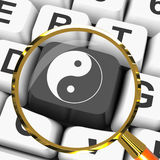 Ying Yang Key Magnified Means Spiritual Peace Harmony Royalty Free Stock Image