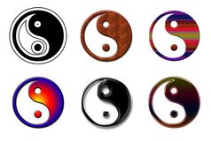 Ying Yang loga kolaż Zdjęcie Royalty Free