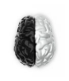 Ying and yang mind. Brain in black and white like Ying and Yang - 3d render Stock Images