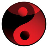 Ying yang shadow red. Red and black ying yang logo with light reflection Stock Photography