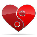 Ying yang shape heart Royalty Free Stock Image