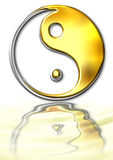 Ying-Yang symbol. Ying Yang sign maded with PS. Gold and silver combination and water reflection Stock Photo