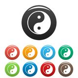 Ying yang symbol of harmony and balance. Icons set. Vector simple set of ying yang vector icons in different colors isolated on white Royalty Free Stock Image