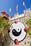 Ying Yang symbol na chińskiej kamiennej ścianie Zdjęcie Royalty Free