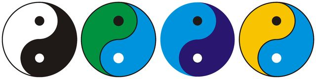 Ying Yang - Vector. Ying Yang - options in different colors. Available vector also Royalty Free Stock Photography