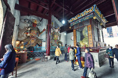 YingJiang Temple. Heavenly Kings and Maitreya are honored inside the main temple hall of Yingjiang Temple, which is an old traditional chinese temple located in Stock Photo