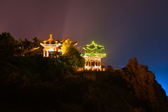 Yingjiao pavilion in the night. The image taken in china`s hebei province,qinhuangdao city,beidaihe district,geziwo park.From far away,saw Yingjiao pavilion in Royalty Free Stock Photo