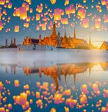 Yingpeng Lantern festival with Landmarked Thai temple. During sunset in Thailand royalty free stock photo