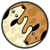 Yinyang dogs. Vector yin and yang design of two dogs sniffing each other Royalty Free Stock Images