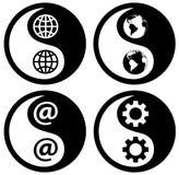 yinyang för kugghjulrengöringsdukvärld Arkivbild