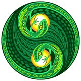 YinYang Gecko Lizard Decorative Sign. Decorative Yin Yang Composed by two Gecko lizards instead of classic black and white sign. Original Vector Illustration Stock Photography