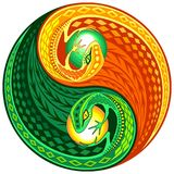 YinYang Gecko Lizard Opposite Colors Sign. Decorative Yin Yang Composed by two Gecko lizards instead of classic black and white sign. The Two sides of the Yin Royalty Free Stock Image