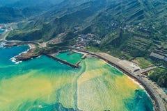 Yinyang-Seevogelperspektive - berühmte Reiseziele von Taiwan, panoramische bird's mustern Ansicht stockfoto