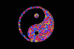 Yinyang. Symbol on black background Stock Image