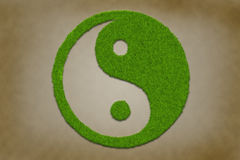 Yinyang symbol from grass. On a grungy vintage texture Royalty Free Stock Photo