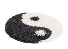 Yinyang. Made from black and white rice. Closeup Stock Images