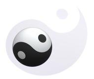 在Yin杨背景的Yin杨球 免版税库存图片