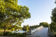Yinyue bridge and green trees Royalty Free Stock Photos