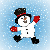 Yipee Happy Snowman Royalty Free Stock Photos