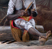 Yirrganydji Aboriginal man play Aboriginal music with Clapstick. Percussion musical Instrument made out of wood in Queensland, Australia Royalty Free Stock Photo