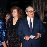 Yitzhak Navon and Ofira Navon. Yitzhak Navon attends a function in Tel Aviv, Israel, on Nov. 29, 1987.  He is accompanied by his then wife, the ravishing Stock Images