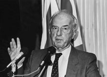 Yitzhak Rabin. Addressing a Jewish Federation convention in San Francisco in 1991. A former Israel Defense Forces head, Minister of Defense, Parliamentarian royalty free stock photos