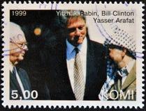 Yitzhak Rabin, Bill Clinton and Yasser Arafat. A stamp printed in Komi shows Yitzhak Rabin, Bill Clinton and Yasser Arafat stock photography