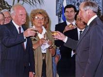 Yitzhak Rabin, Shulamit Aloni, Haim Ramon, Moshe Shahal, Chaim Herzog Lizenzfreie Stockbilder