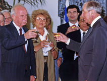 Yitzhak Rabin, Shulamit Aloni, Haim Ramon, Moshe Shahal, Chaim Herzog Royalty Free Stock Images
