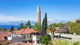 Yivli Minare Mosque in Antalya, Turkey. Yivli Minare Mosque or Alaaddin Mosque located in Kaleici district old town centre of Antalya, Turkey. Sunny weather Royalty Free Stock Image