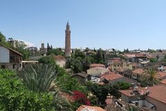Yivli Minare Mosque is a Landmark in Antalyas Oldtown Kaleici, Turkey Stock Photography