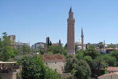 Yivli Minare Mosque is a Landmark in Antalyas Oldtown Kaleici, Turkey Royalty Free Stock Image