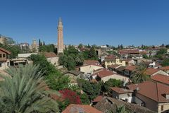 Yivli Minare Mosque is a Landmark in Antalyas Oldtown Kaleici, Turkey Stock Photo