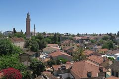 Yivli Minare Mosque is a Landmark in Antalyas Oldtown Kaleici, Turkey Royalty Free Stock Images