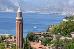 Yivli minaret. Close up shot of Yivli minaret in Antalya,Turkey Stock Image