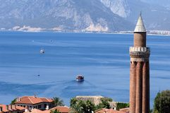 Yivli minaret. Close up shot of Yivli minaret in Antalya,Turkey Royalty Free Stock Images