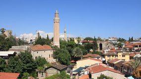 Yivli minaret. Kaleici - old town in Antalya, Turkey stock video