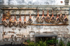Yixian County, Anhui Hongcun wall covered with civilians bacon ham. Hongcun is located in one of the six counties of Huizhou, Yixian County, northeast of the Royalty Free Stock Photography