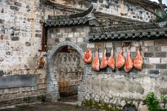 Yixian County, Anhui Hongcun wall covered with civilians bacon ham. Hongcun is located in one of the six counties of Huizhou, Yixian County, northeast of the Stock Images