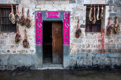 Yixian County, Anhui Hongcun wall covered with civilians bacon ham. Hongcun is located in one of the six counties of Huizhou, Yixian County, northeast of the Royalty Free Stock Image