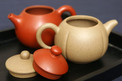 Yixing teapots. Traditional Chinese teapots made of yixing clay stock photo