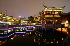 Yiyuan and the Zigzag Bridge night scene Royalty Free Stock Image
