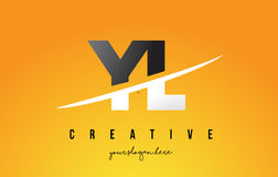 YL Y L Letter Modern Logo Design with Yellow Background and Swoo Royalty Free Stock Photo